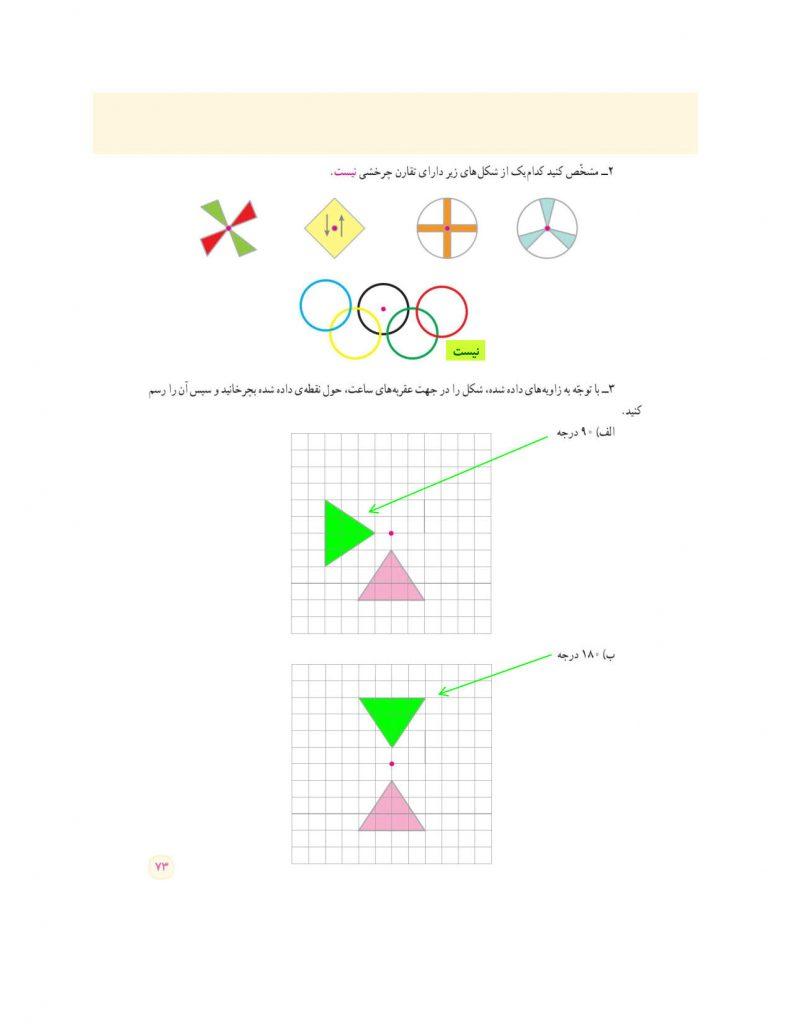 فصل چهارم ریاضی ششم - تقارن و مختصات - کلاس اینترنتی ما - مومکا - صفحه 70 کتاب درسی ریاضی ششم صفحه 73