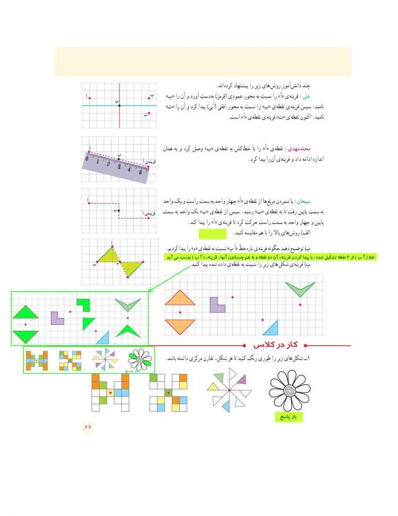 گام به گام فصل چهارم ریاضی ششم - تقارن و مختصات - کلاس اینترنتی ما - مومکا - گام به گام صفحه 67 کتاب درسی ریاضی ششم