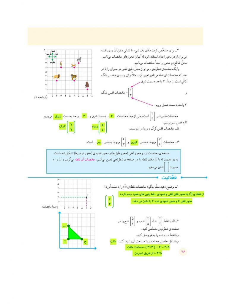 فصل چهارم ریاضی ششم - محورهای مختصات - گام به گام و توضیح - کلاس اینترنتی ما - مومکا - momeka.ir صفحه 76.jpg
