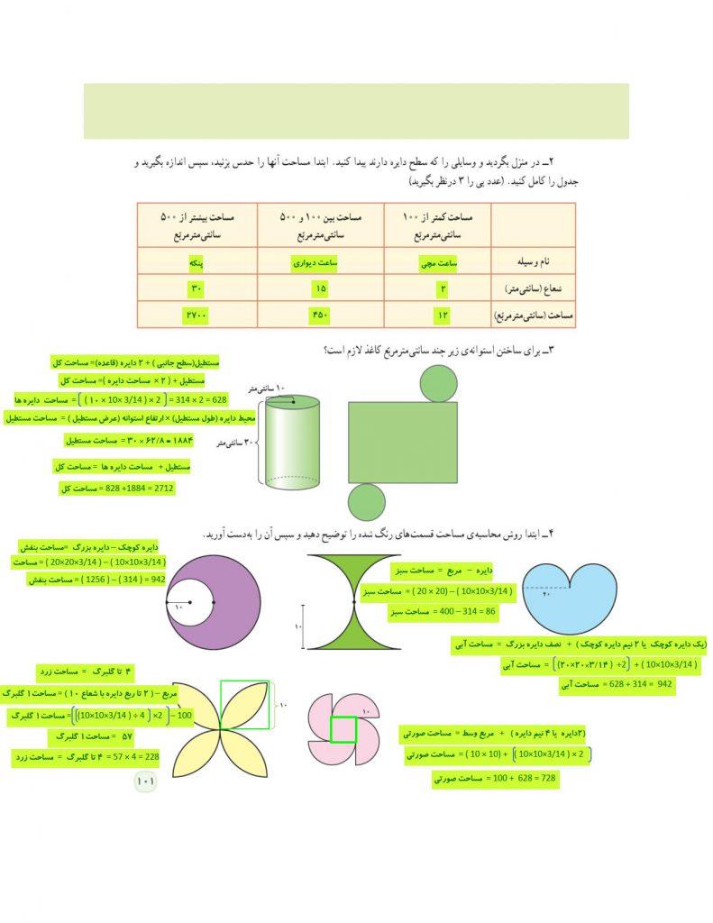 گام به گام فصل پنجم ریاضی ششم - مساحت دایره- کلاس اینترنتی ما - مومکا - momeka.ir - صفحه 101