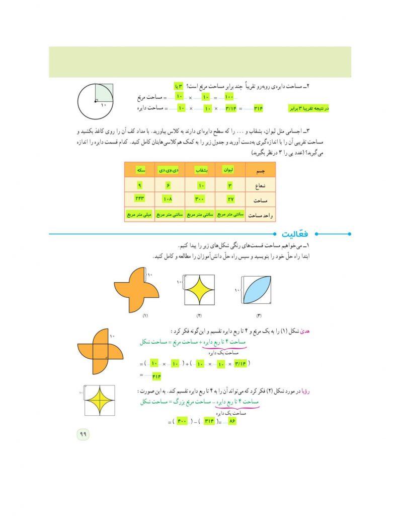 گام به گام فصل پنجم ریاضی ششم - مساحت دایره- کلاس اینترنتی ما - مومکا - momeka.ir - صفحه 99