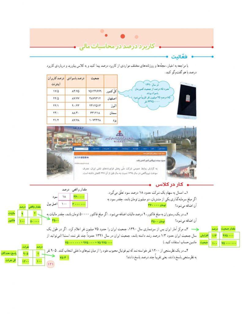 گام به گام فصل ششم ریاضی ششم - تناسب و درصد - درس و مدرسه - مومکا - darsomadrese.com - کاربرد درصد در محاسبات مالی - صفحه 121
