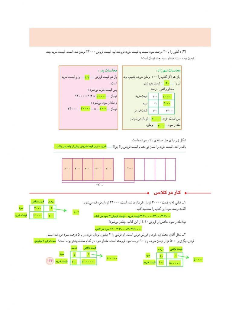 گام به گام فصل ششم ریاضی ششم - تناسب و درصد - درس و مدرسه - مومکا - darsomadrese.com - کاربرد درصد در محاسبات مالی - صفحه 123