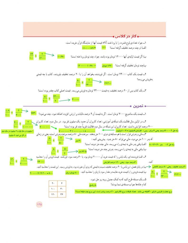 گام به گام فصل ششم ریاضی ششم - تناسب و درصد - درس و مدرسه - مومکا - darsomadrese.com - کاربرد درصد در محاسبات مالی - صفحه 125