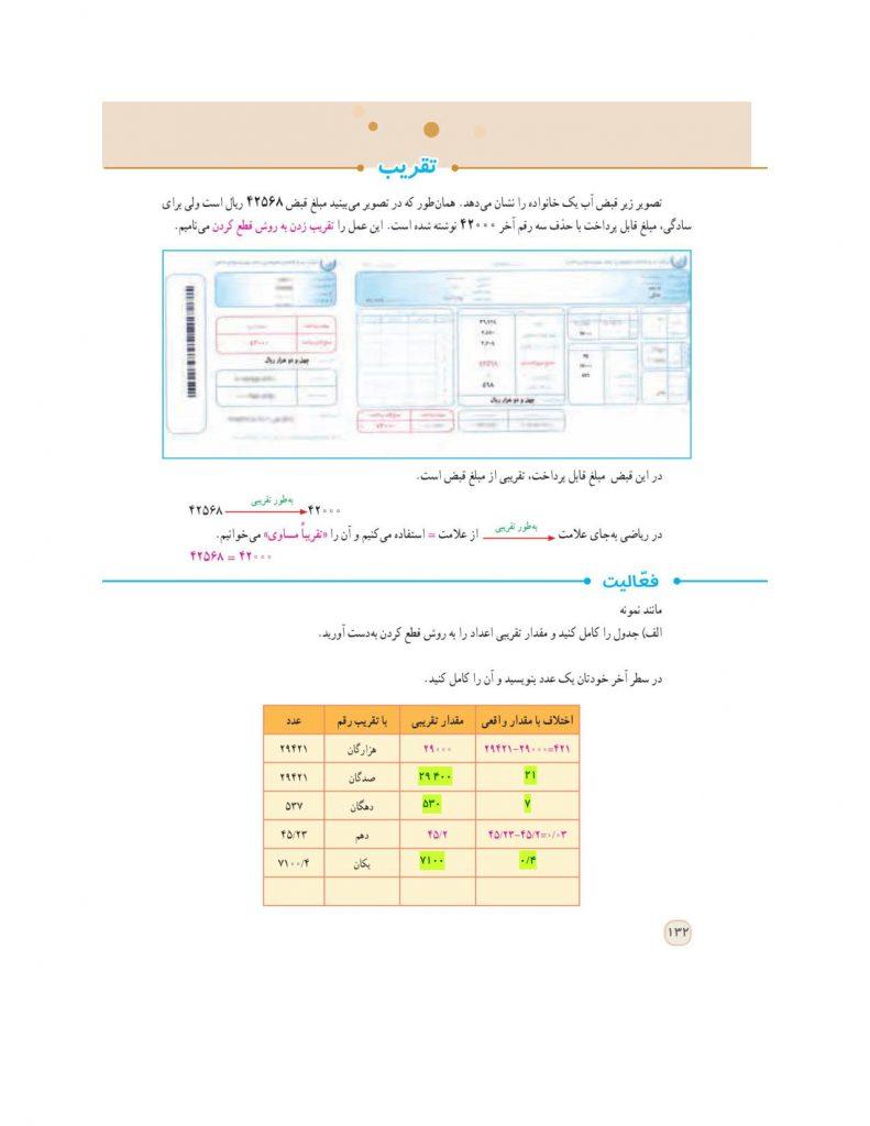 گام به گام فصل هفتم ریاضی ششم - تقریب - درس و مدرسه - مومکا - darsomadrese.com - گرد کردن و قطع کردن - صفحه 132