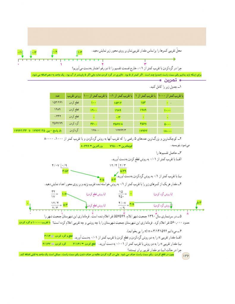 گام به گام فصل هفتم ریاضی ششم - تقریب - درس و مدرسه - مومکا - darsomadrese.com - گرد کردن و قطع کردن - صفحه 136